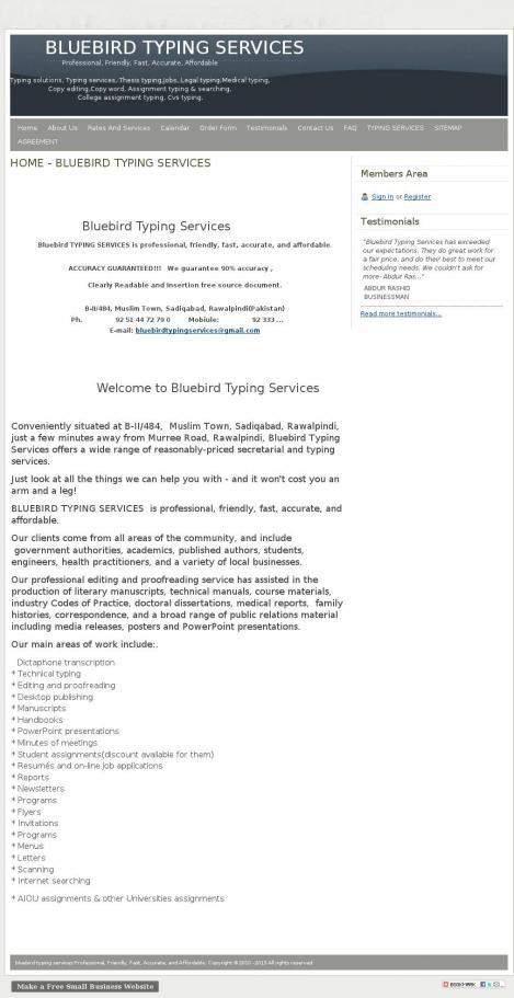 Bluebird Typing Services